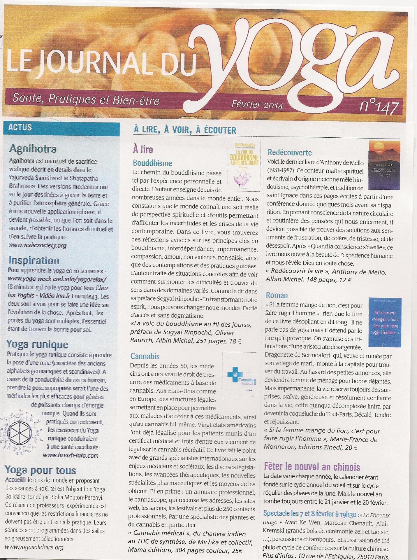 Le Journal du Yoga Février 2014