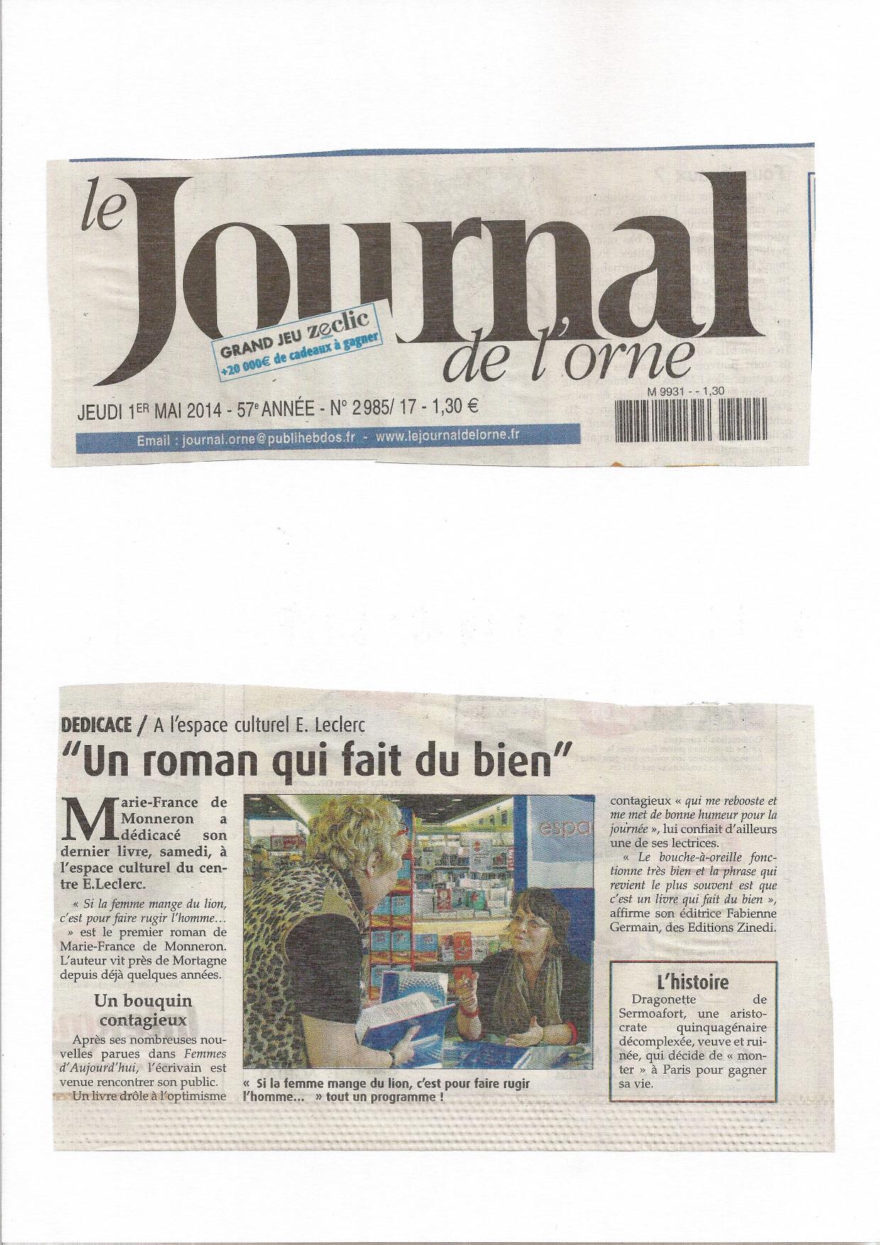 Journal de l'Orne 1er mai 2014