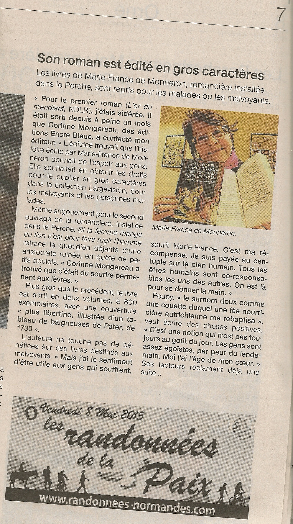 Article Ouest France du 24/04/2015