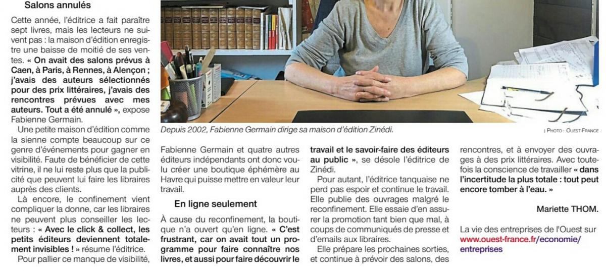 Interview Ouest-France de Fabienne Germain