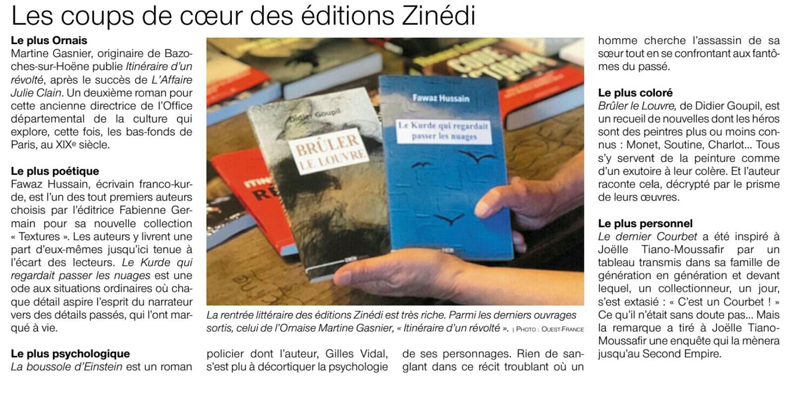 Ouest-France - Rentrée littéraire des éditions Zinédi